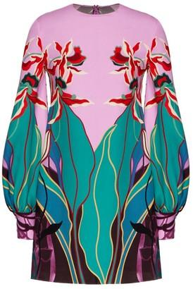Valentino Silk Orchid Ramage Mini Dress