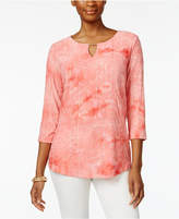 JM Collection Tie-Dyed Embellished Tunic, Created for Macy's