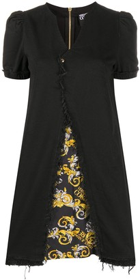 Versace Jeans Couture Raw-Edge Puff Sleeve Mini Dress