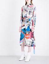 Versace Abstract-print crepe skirt