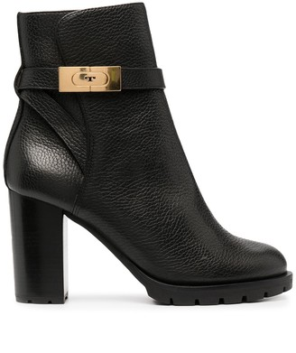 Tory Burch Mid-Heel Leather Ankle Boots
