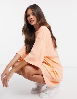 ASOS DESIGN oversized T-shirt dress in peach