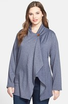 Bobeau Plus Size Women's One-Button Fleece Cardigan