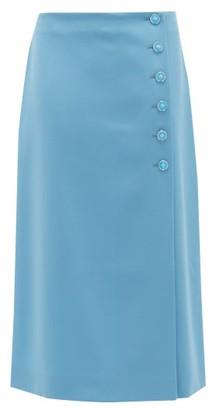 Marc Jacobs Runway - Buttoned Wool-gabardine Midi Skirt - Womens - Light Blue