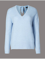 Autograph Pure Cashmere Bow Back V-Neck Jumper
