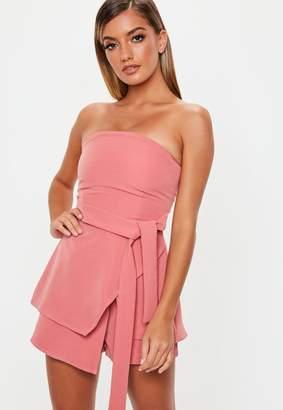 Missguided Pink Tie Waist Bandeau Skort Playsuit
