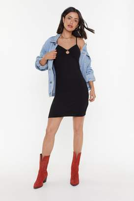 Nasty Gal Womens O-Ring It Loud Ribbed Mini Dress - Black - 6, Black
