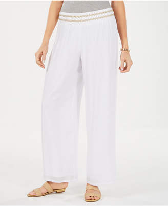 JM Collection Petite Metallic-Waist Wide-Leg Pants