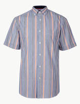 Blue HarbourMarks and Spencer Pure Cotton Striped Shirt
