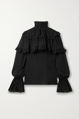 Saint Laurent Ruffled Tiered Silk-chiffon Blouse - Black