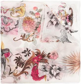 Salvatore Ferragamo Floral Animal Print Scarf