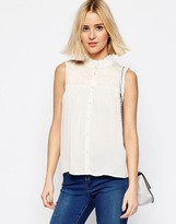 Asos Pretty Sleeveless Blouse with Shirring Detail