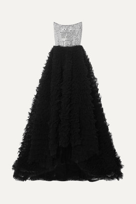 RALPH & RUSSO Strapless Crystal-embellished Crepe And Ruffled Tulle Gown - Black