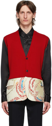 Haider Ackermann Red Sleeveless Cardigan