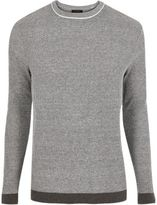 River Island MensDark grey ribbed crew neck slim fit sweater