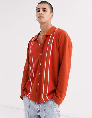 Obey United classic long sleeve stripe polo in red