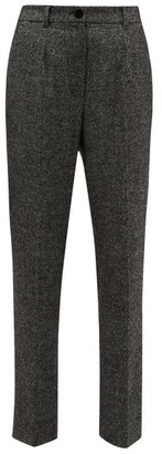 Dolce & Gabbana High-waisted Virgin Wool-blend Tweed Trousers - Womens - Grey Multi