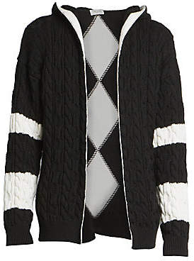 Saint Laurent Men's Baja Wool Cable Knit Open Front Cardigan