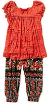 Bonnie Jean Little Girls 2T-6X Short-Sleeve Lace Top and Floral-Printed Harem Pants Set