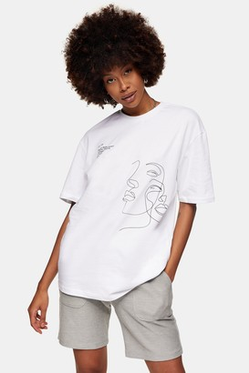 Topman Face Sketch T-Shirt in White