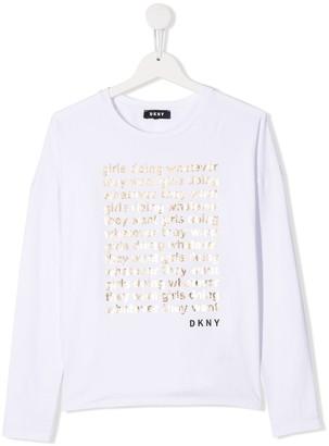DKNY TEEN metallic slogan T-shirt