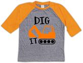 Urban Smalls Heather Gray & Orange 'Dig It' Raglan Tee - Toddler & Kids