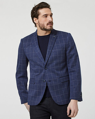 Le Château Windowpane Check Print Notch Collar Blazer