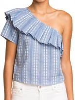 Splendid One Shoulder Chambray Top