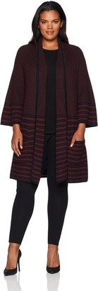 Foxcroft Women's Textured Stripe Open Cardigan