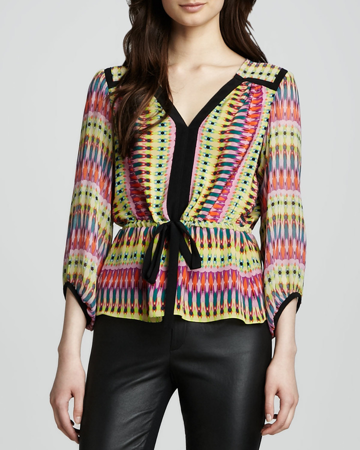 Nanette Lepore Clowning Around Tie-Waist Top