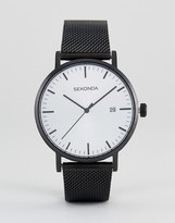 Sekonda Minimalist Black Leather Watch With Silver Dial Exclusive To ASOS