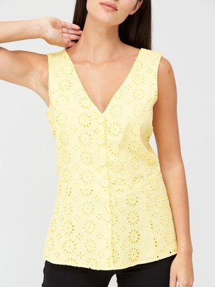 Very Broderie Button Through Vest - Yellow