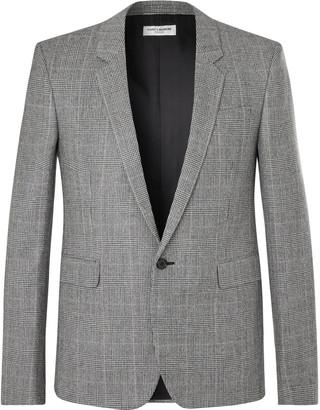 Saint Laurent Prince of Wales Checked Wool Blazer - Men - Gray