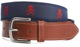 Vineyard Vines Men's Embroidered Skull & Crossbones Belt