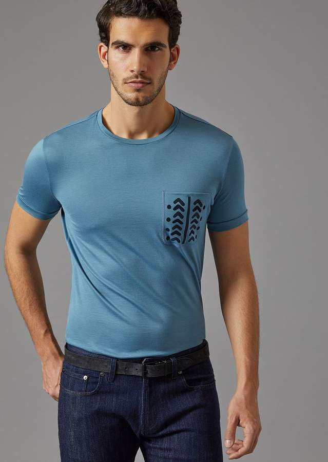 Giorgio Armani T-Shirt With Patterned Breast Pocket