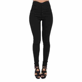 SANFASHION Clearance Ladies Women Pencil Stretch Casual Skinny Pants High Waist Trousers Buttons Pants Black
