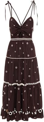 Ulla Johnson Cutout Embellished Cotton-poplin Midi Dress