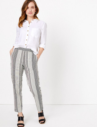 Marks and Spencer PETITE Mia Slim Cotton Striped Trousers