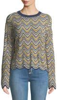 MiH Jeans Arlo Zigzag Mini-Stripes Crewneck Long-Sleeve Merino Sweater