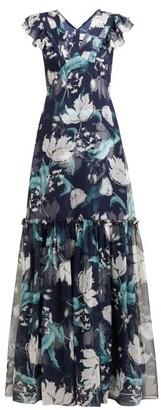Erdem Franceline Leighton-print Ruffled Silk Gown - Womens - Navy Print