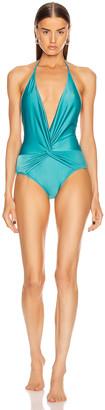 Adriana Degreas Solid Halter neck Swimsuit in Blue | FWRD