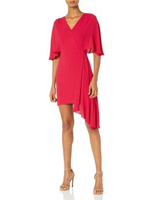 Halston Women's Flowy Short Sleeve Faux Wrap Dress