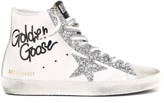 Golden Goose Francy Glittered Distressed Leather And Suede High-top