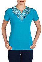 Allison Daley Petites Embellished Notch V-Neck Solid Knit Top
