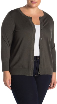 Halogen Solid Button Front Cardigan (Plus Size)
