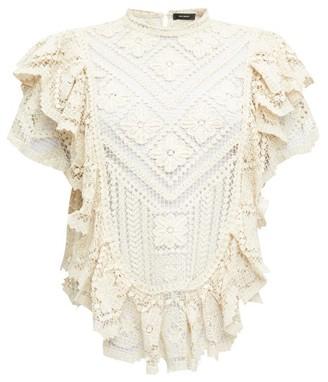 Isabel Marant Zainos Ruffled Crocheted-lace Top - Womens - Ivory