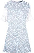 Garpart contrast ruffle sleeved dress