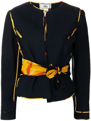 Fendi Pre-Owned Tied Waist Collarless Jacket