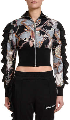 Palm Angels Bridle Rouches Cropped Track Jacket