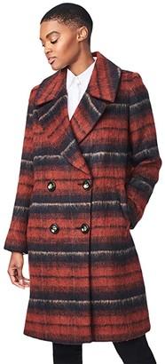 Bernardo Fashions Brushed Plaid Wool Coat (Rust Plaid) Women's Coat